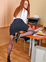 Sexy secretary Leeloo in stockings playing with her pussy