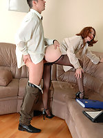 Freaky gal in sheer-to-waist pantyhose taking challenge of boner in her ass