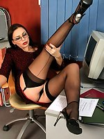 Sexcited secretary having fun at her workplace